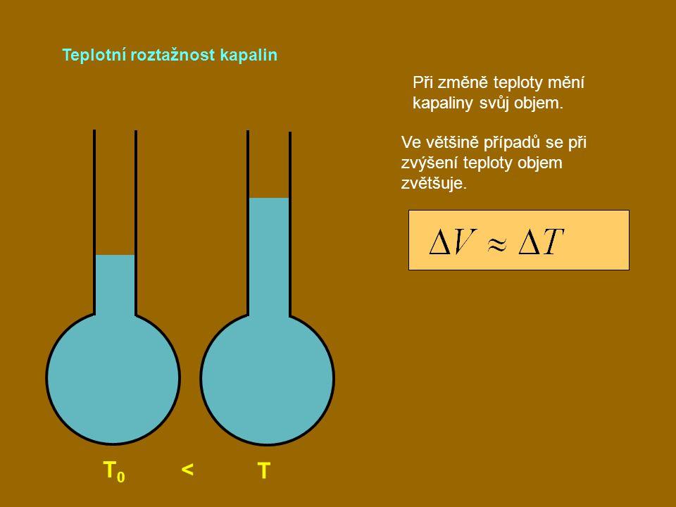 T0 < T Teplotní roztažnost kapalin