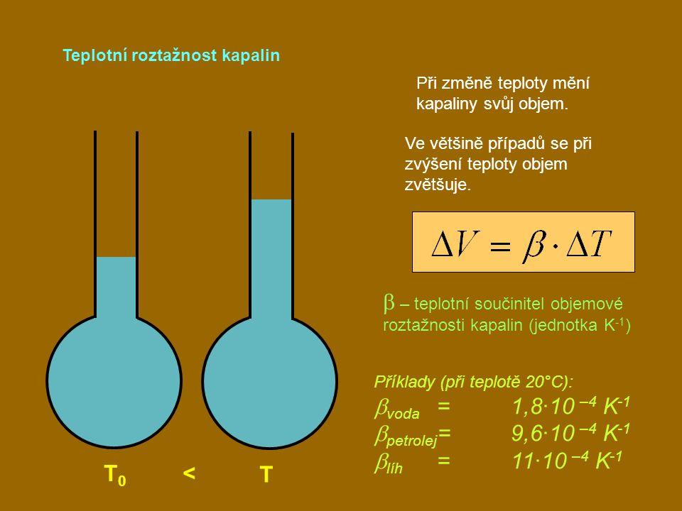 b – teplotní součinitel objemové roztažnosti kapalin (jednotka K-1)