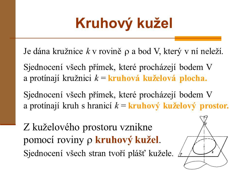 Kruhový kužel Je dána kružnice k v rovině  a bod V, který v ní neleží. Sjednocení všech přímek, které procházejí bodem V a protínají kružnici k =
