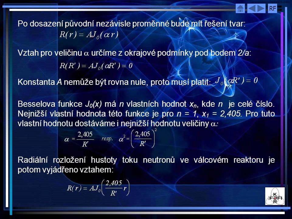 Po dosazení původní nezávisle proměnné bude mít řešení tvar: