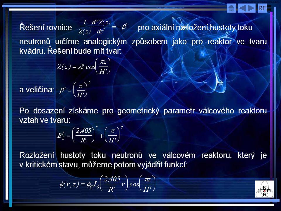 Řešení rovnice pro axiální rozložení hustoty toku