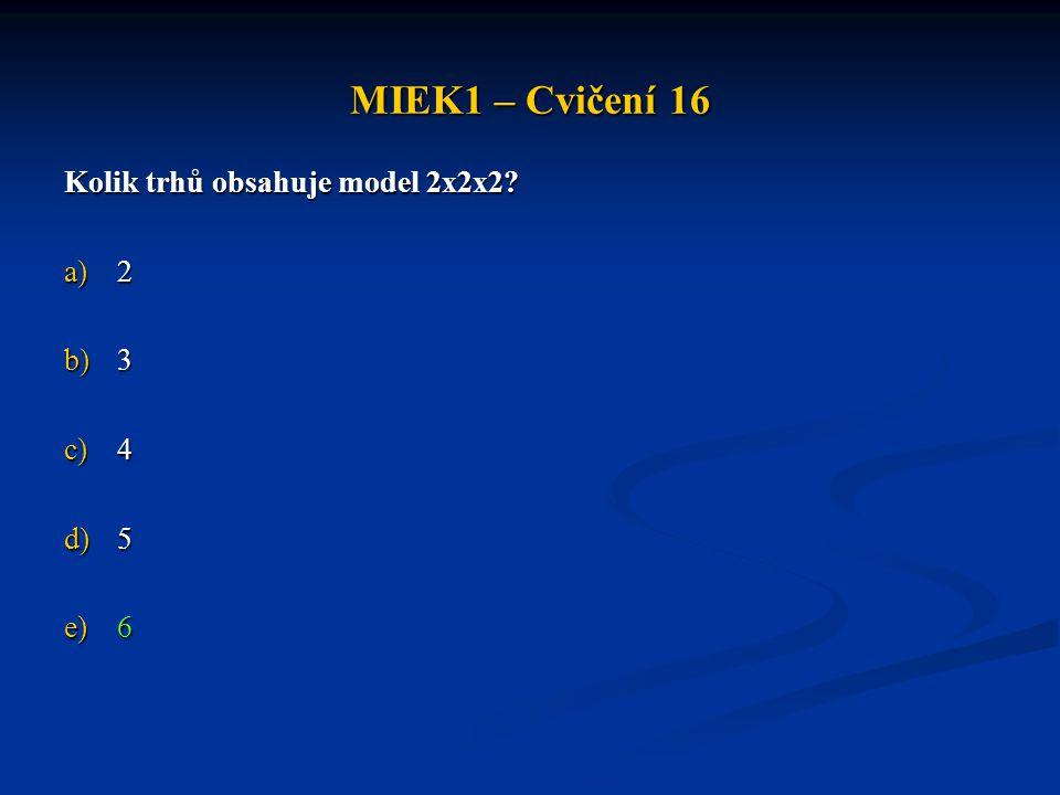 MIEK1 – Cvičení 16 Kolik trhů obsahuje model 2x2x2 2 3 4 5 6