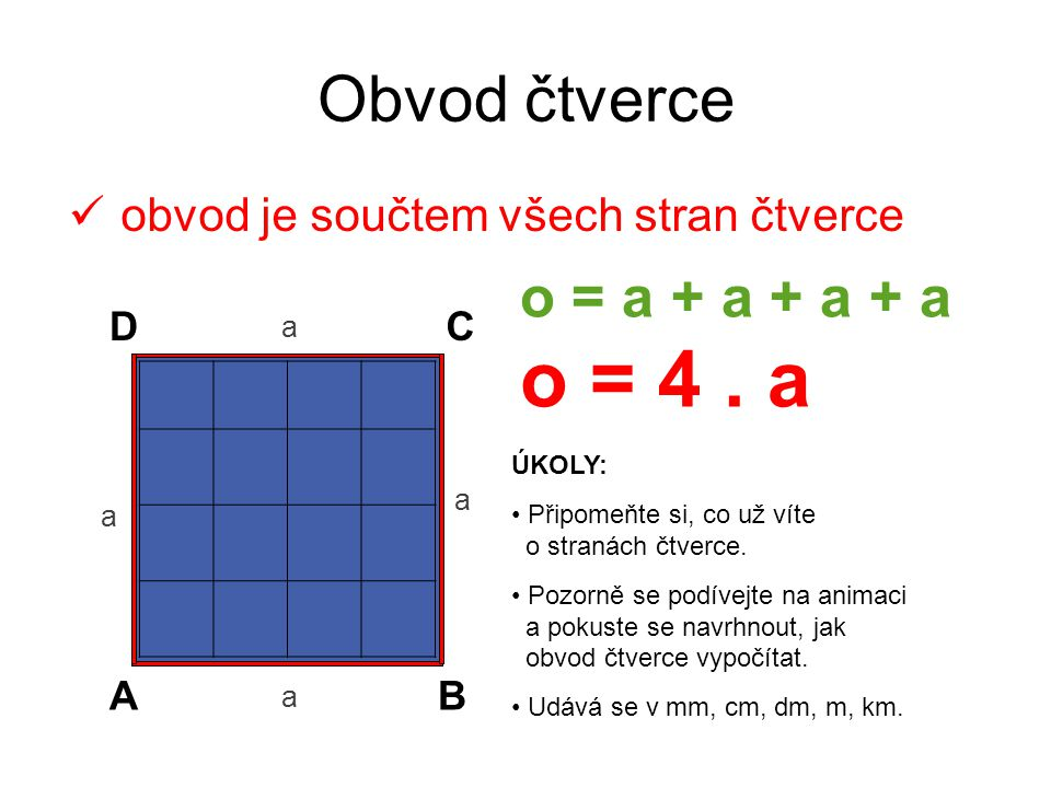 Obvod čtverce o = a + a + a + a o = 4 . a