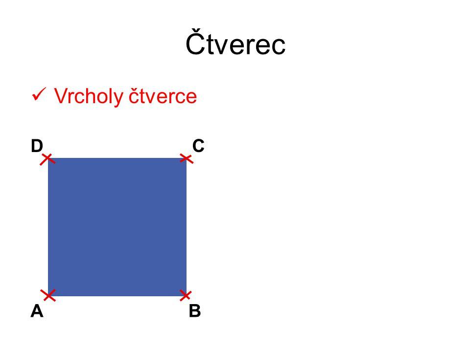 Čtverec Vrcholy čtverce D C A B