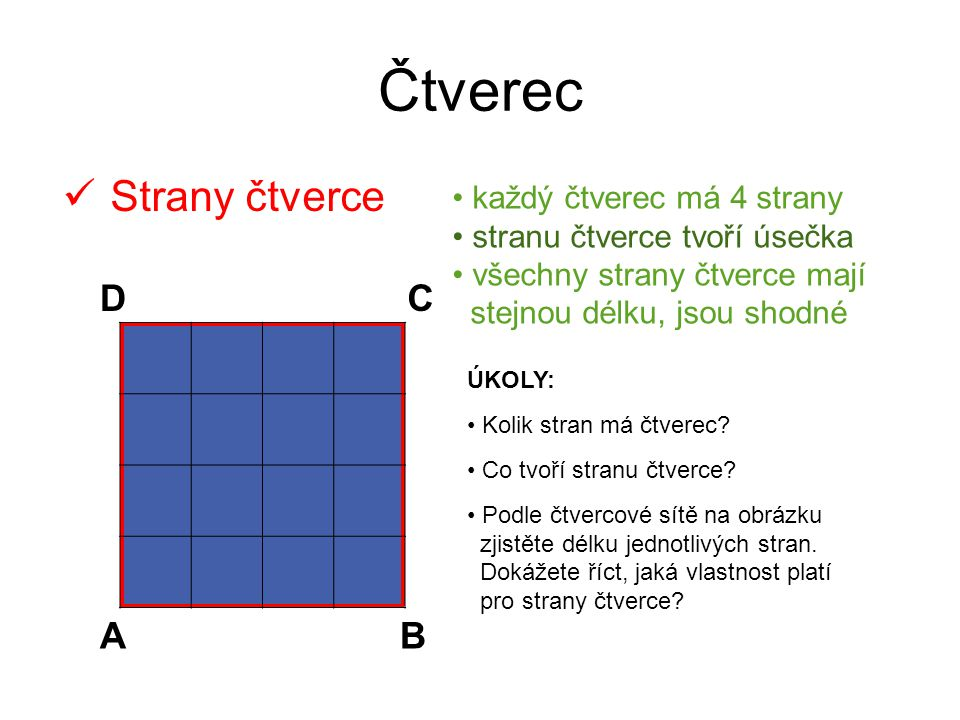 Čtverec Strany čtverce D C A B každý čtverec má 4 strany