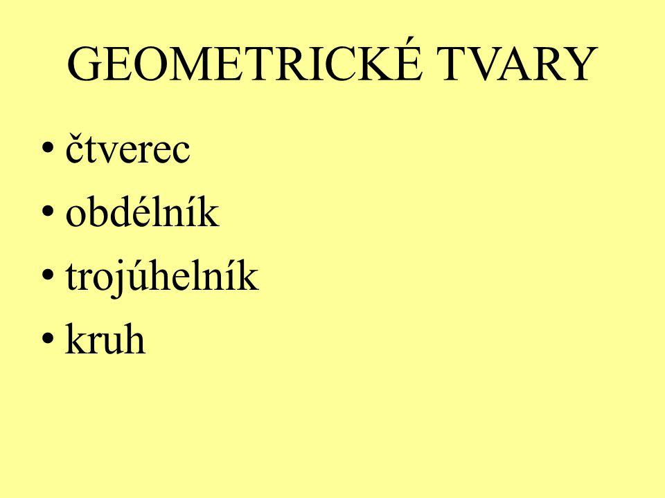 GEOMETRICKÉ TVARY čtverec obdélník trojúhelník kruh