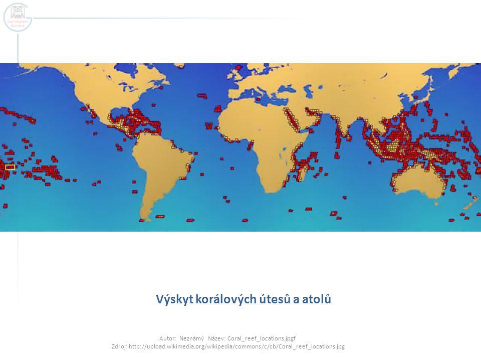 Výskyt korálových útesů a atolů