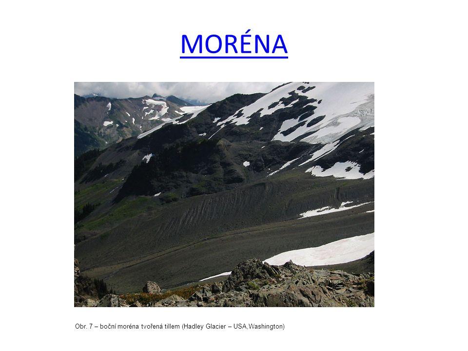 MORÉNA Obr. 7 – boční moréna tvořená tillem (Hadley Glacier – USA,Washington)
