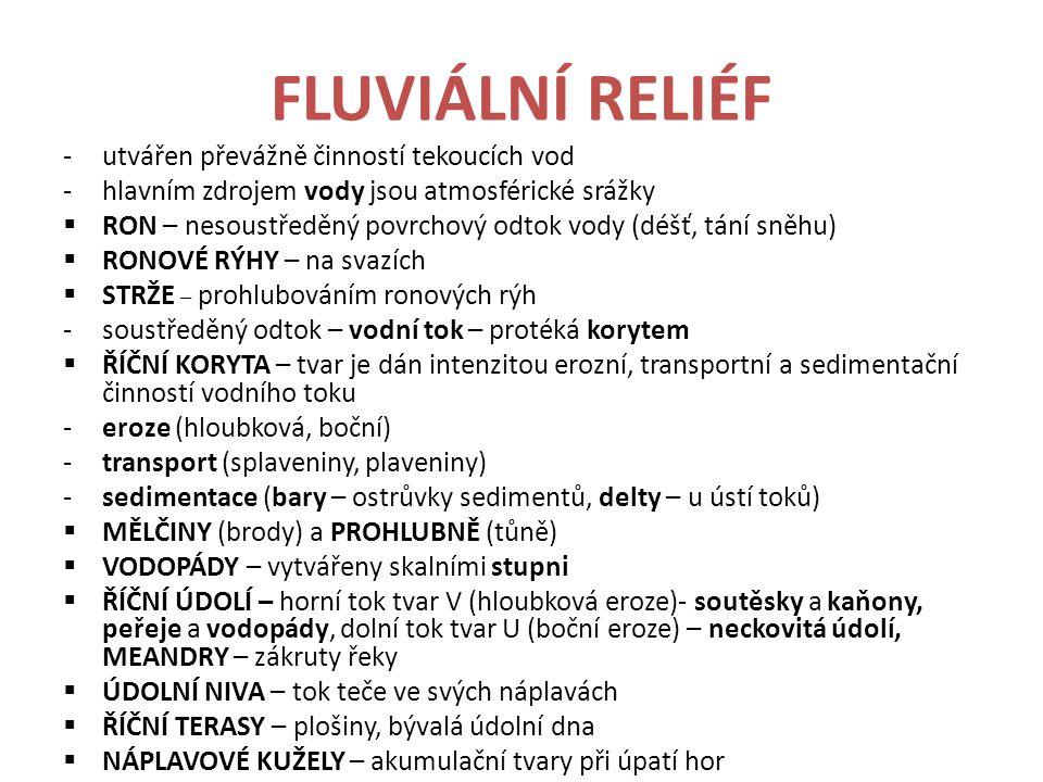 FLUVIÁLNÍ RELIÉF utvářen převážně činností tekoucích vod