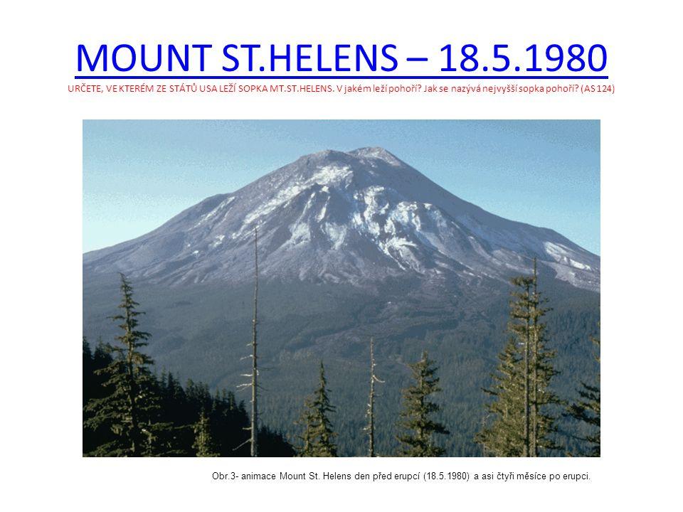 MOUNT ST.HELENS – 18.5.1980 URČETE, VE KTERÉM ZE STÁTŮ USA LEŽÍ SOPKA MT.ST.HELENS. V jakém leží pohoří Jak se nazývá nejvyšší sopka pohoří (AS 124)