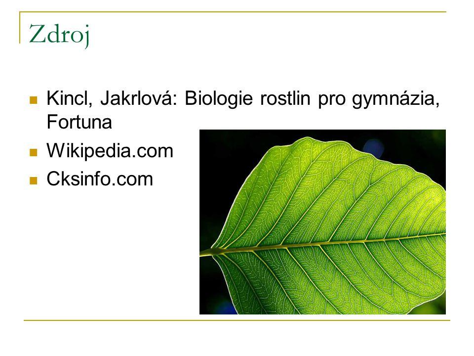 Zdroj Kincl, Jakrlová: Biologie rostlin pro gymnázia, Fortuna