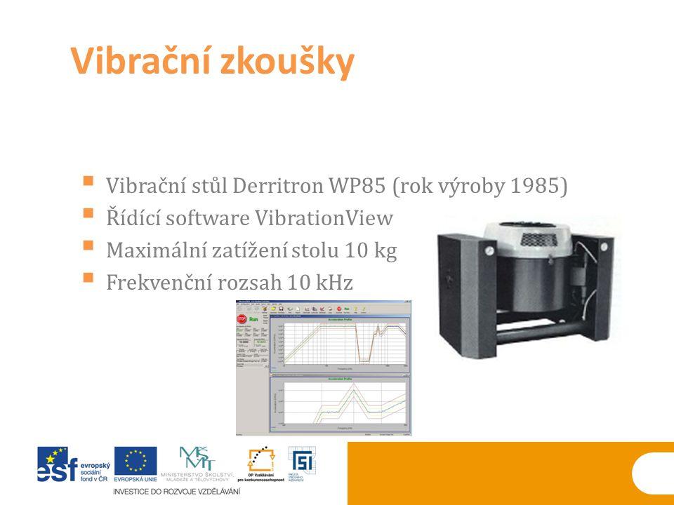 Vibrační zkoušky Vibrační stůl Derritron WP85 (rok výroby 1985)
