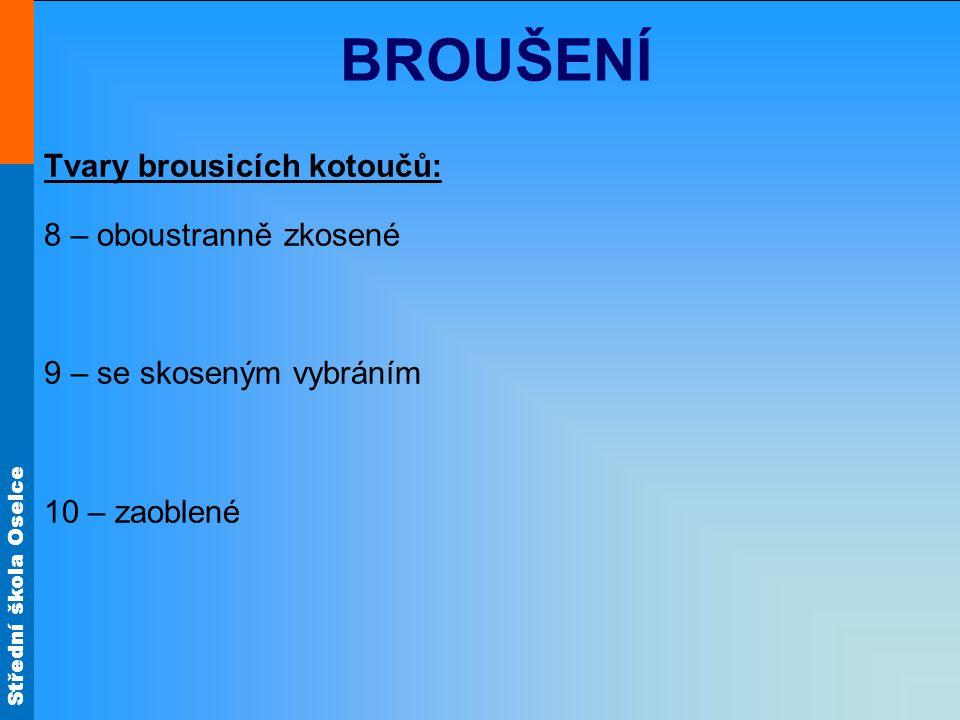 BROUŠENÍ Tvary brousicích kotoučů: 8 – oboustranně zkosené