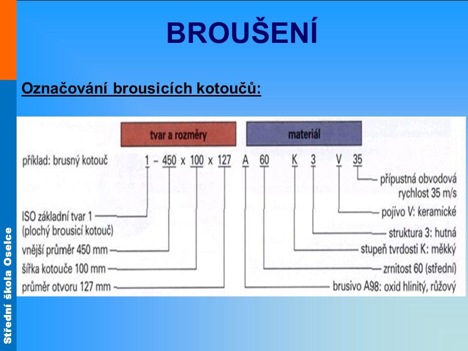 BROUŠENÍ Označování brousicích kotoučů: