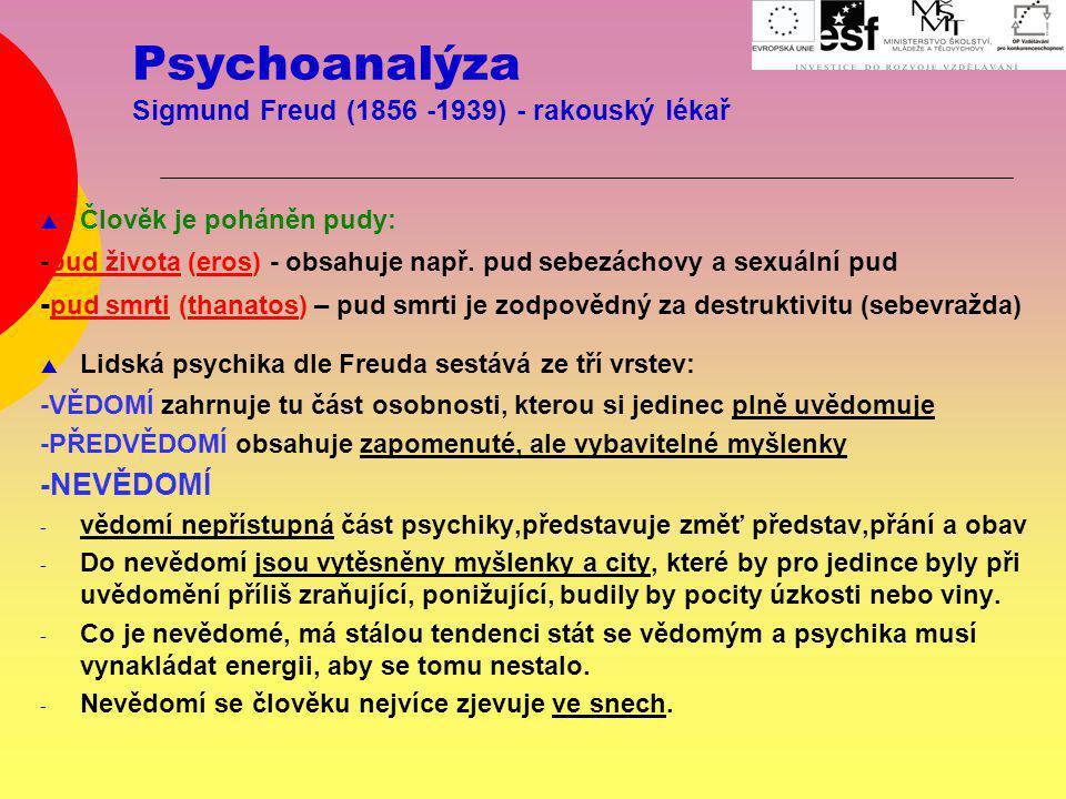 Psychoanalýza Sigmund Freud (1856 -1939) - rakouský lékař