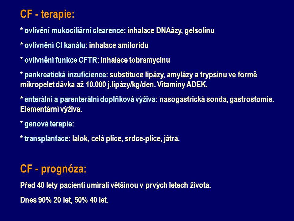 CF - terapie: CF - prognóza: