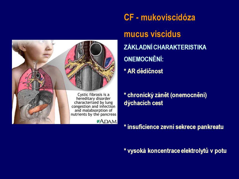 CF - mukoviscidóza mucus viscidus ZÁKLADNÍ CHARAKTERISTIKA ONEMOCNĚNÍ: