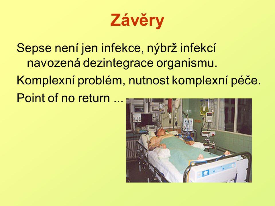 Závěry Sepse není jen infekce, nýbrž infekcí navozená dezintegrace organismu. Komplexní problém, nutnost komplexní péče.