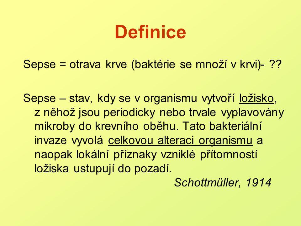 Definice Sepse = otrava krve (baktérie se množí v krvi)-
