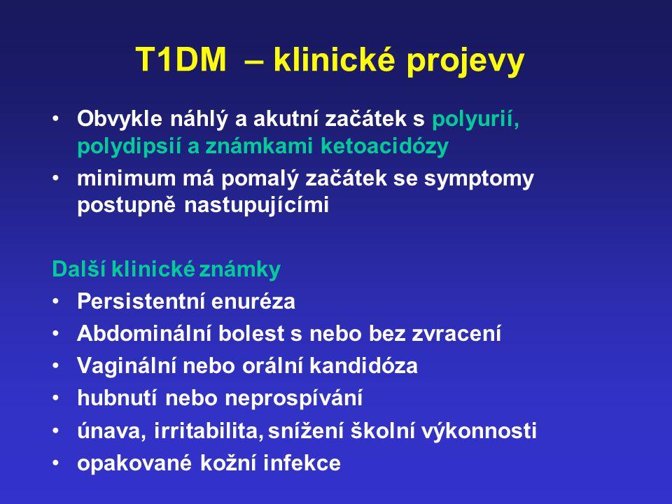 T1DM – klinické projevy Obvykle náhlý a akutní začátek s polyurií, polydipsií a známkami ketoacidózy.