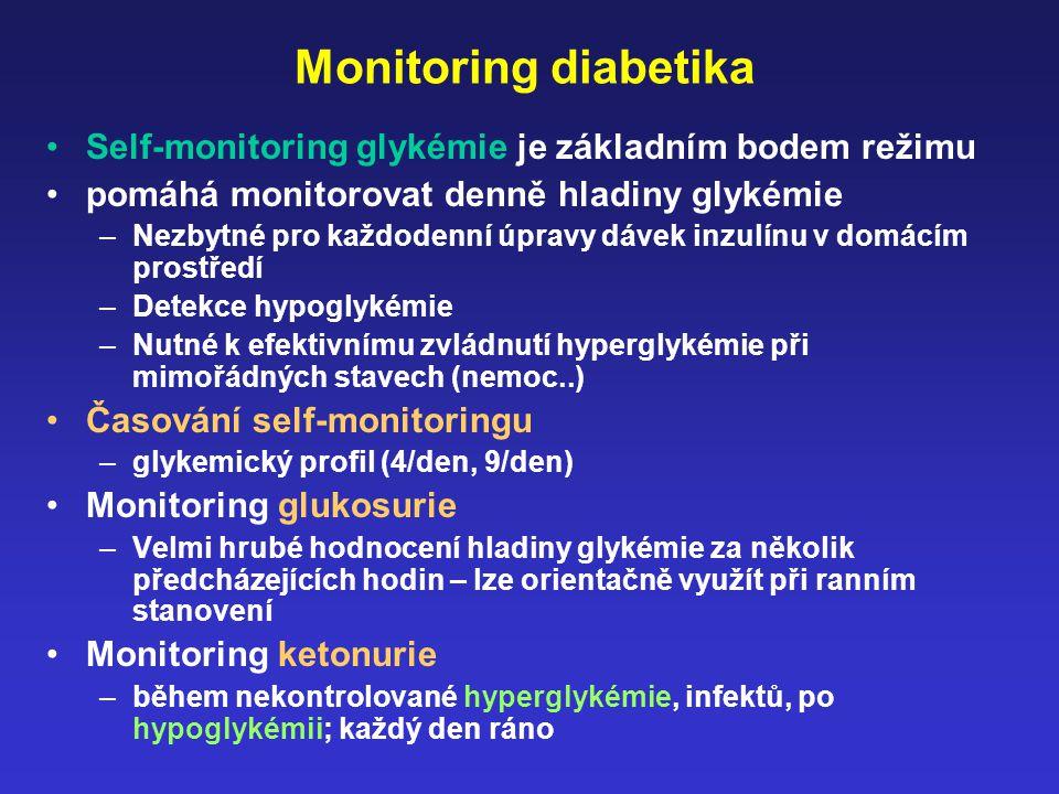 Monitoring diabetika Self-monitoring glykémie je základním bodem režimu. pomáhá monitorovat denně hladiny glykémie.