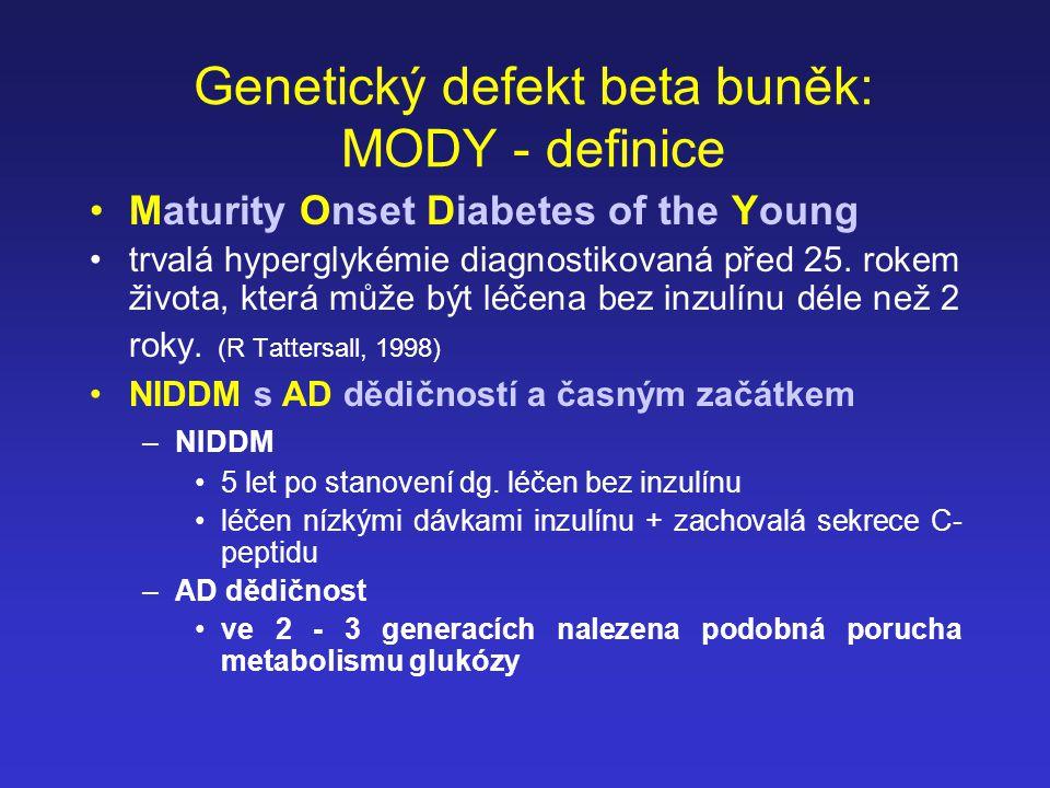 Genetický defekt beta buněk: MODY - definice
