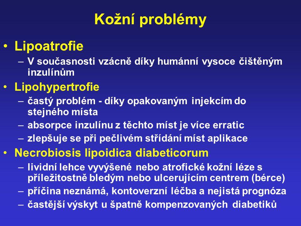 Kožní problémy Lipoatrofie Lipohypertrofie