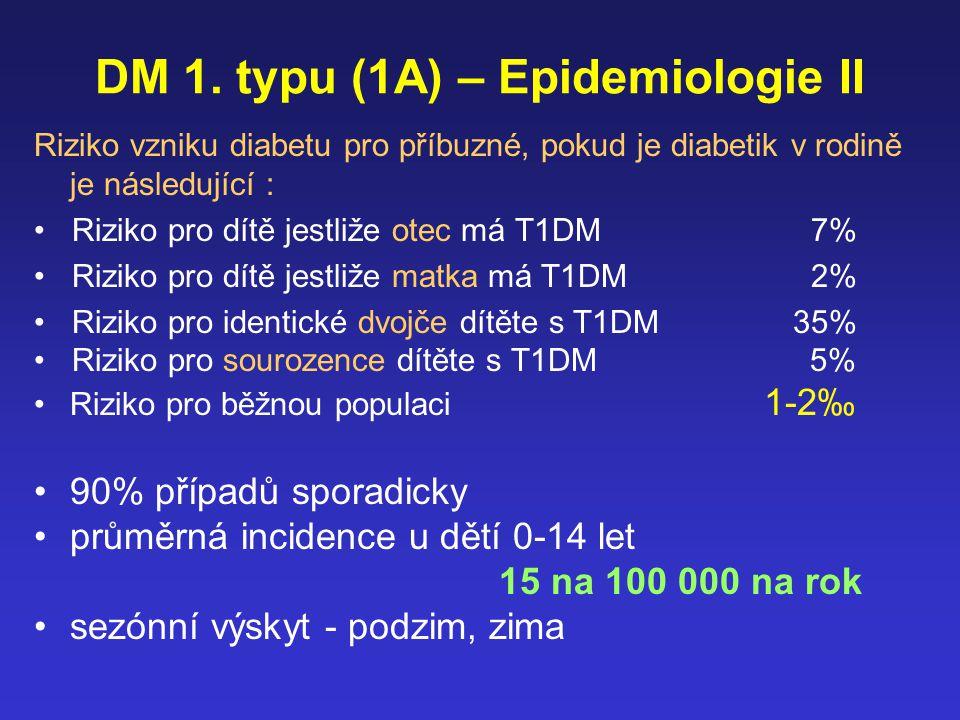 DM 1. typu (1A) – Epidemiologie II