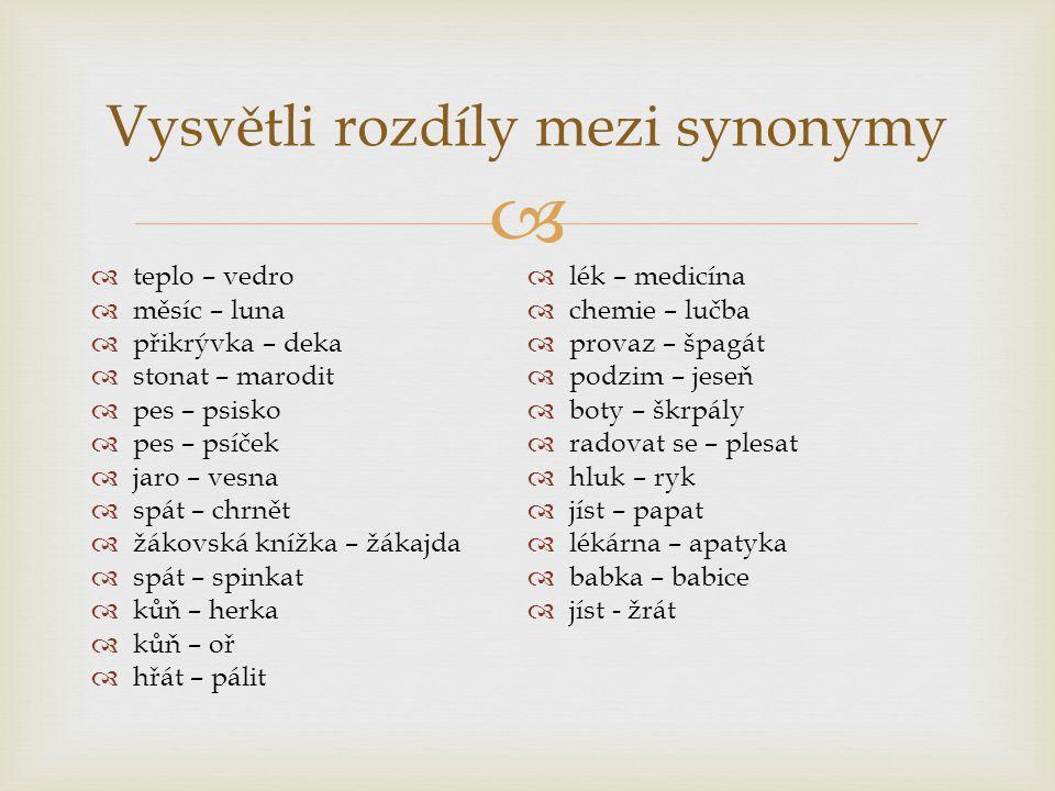 Vysvětli rozdíly mezi synonymy