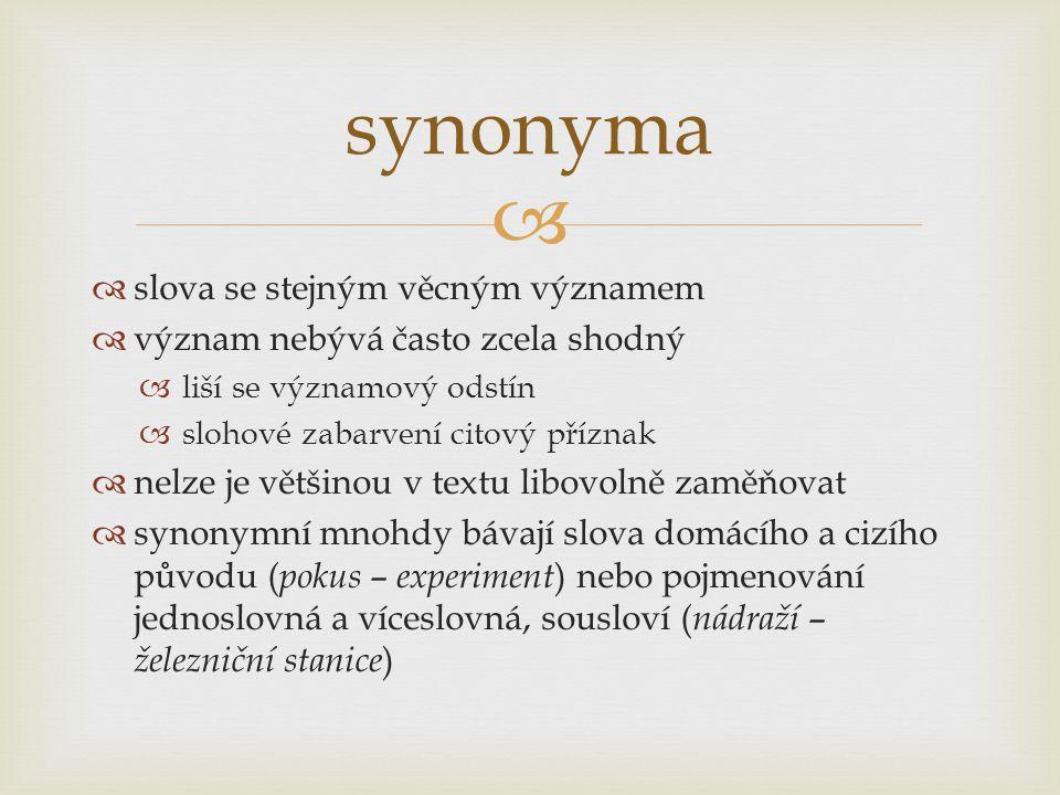 synonyma slova se stejným věcným významem