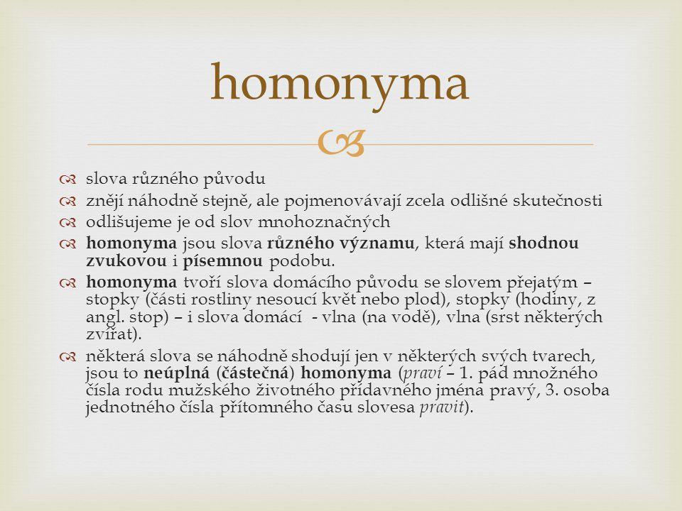 homonyma slova různého původu