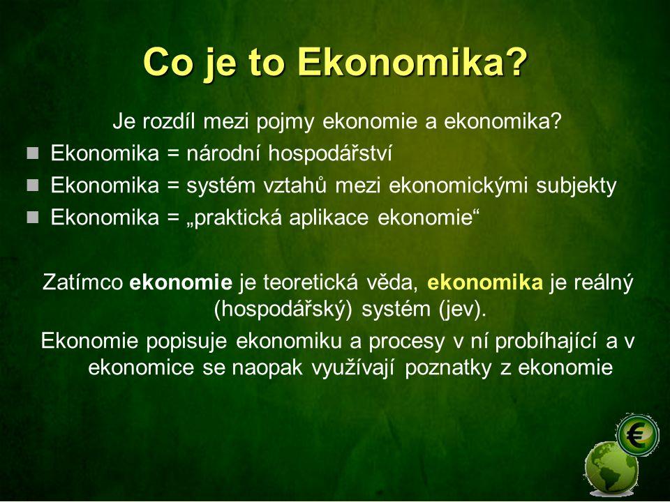 Je rozdíl mezi pojmy ekonomie a ekonomika