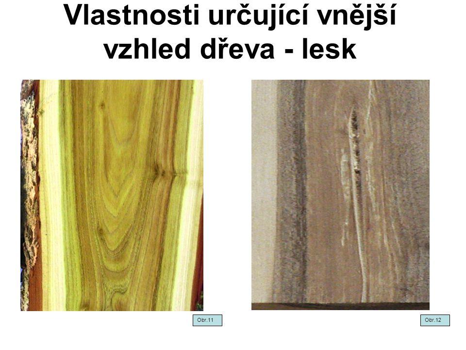 Vlastnosti určující vnější vzhled dřeva - lesk