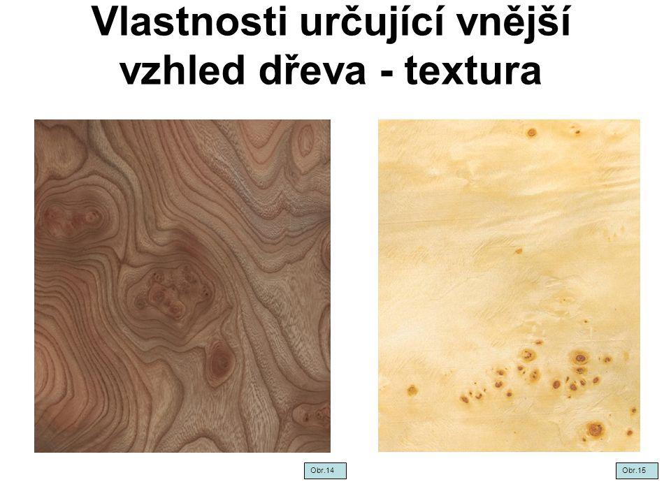 Vlastnosti určující vnější vzhled dřeva - textura