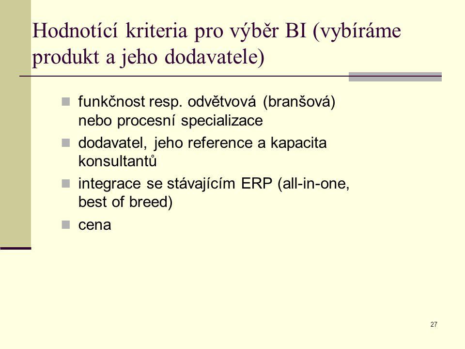 Hodnotící kriteria pro výběr BI (vybíráme produkt a jeho dodavatele)