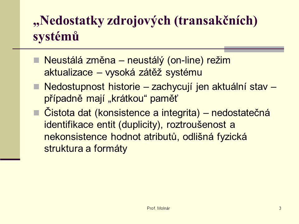 """""""Nedostatky zdrojových (transakčních) systémů"""