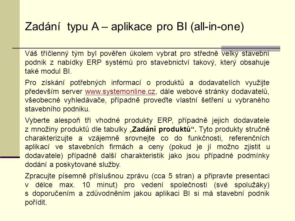 Zadání typu A – aplikace pro BI (all-in-one)