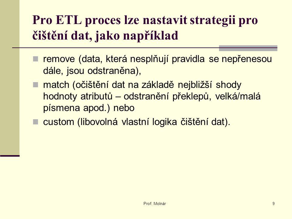 Pro ETL proces lze nastavit strategii pro čištění dat, jako například