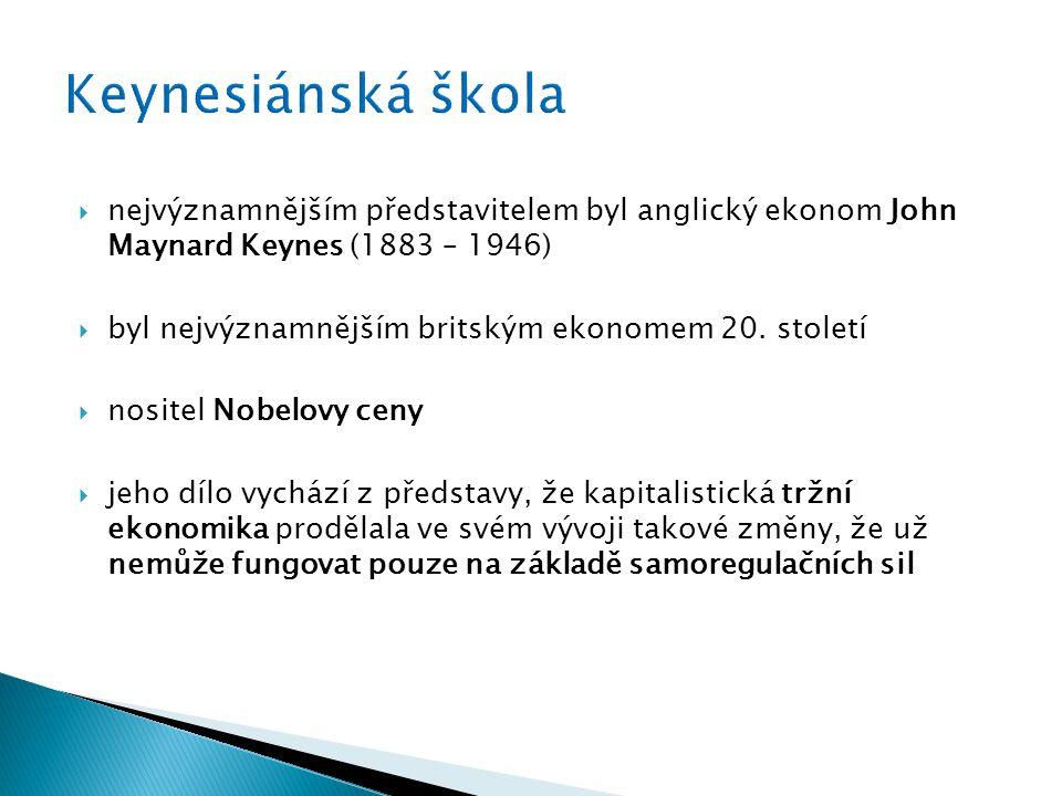 Keynesiánská škola nejvýznamnějším představitelem byl anglický ekonom John Maynard Keynes (1883 – 1946)