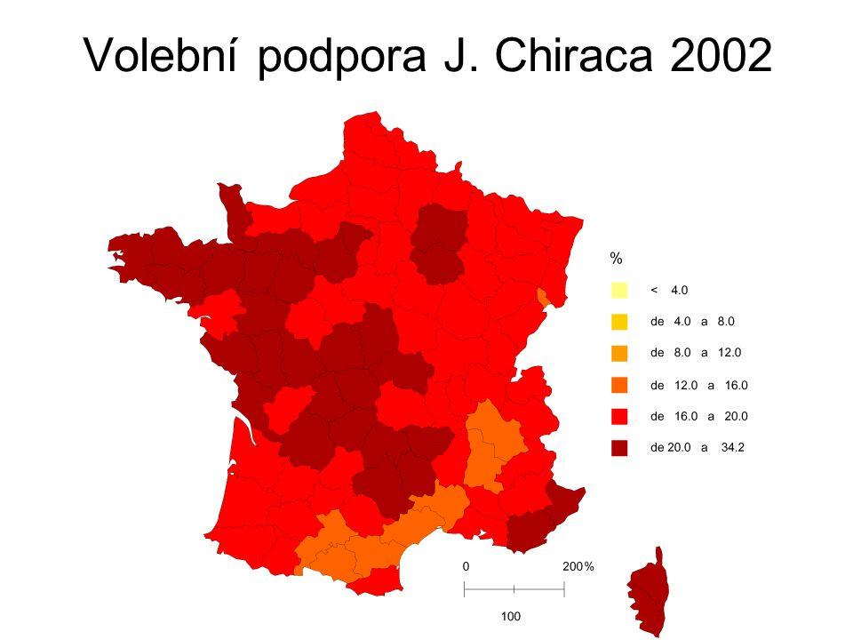 Volební podpora J. Chiraca 2002