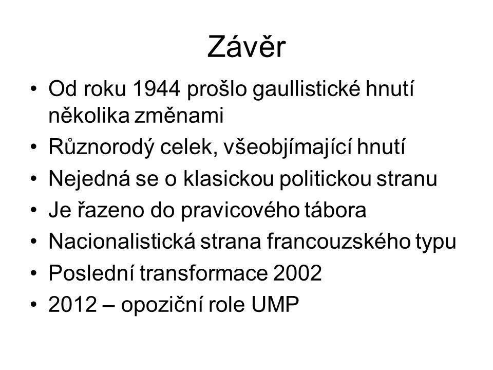 Závěr Od roku 1944 prošlo gaullistické hnutí několika změnami