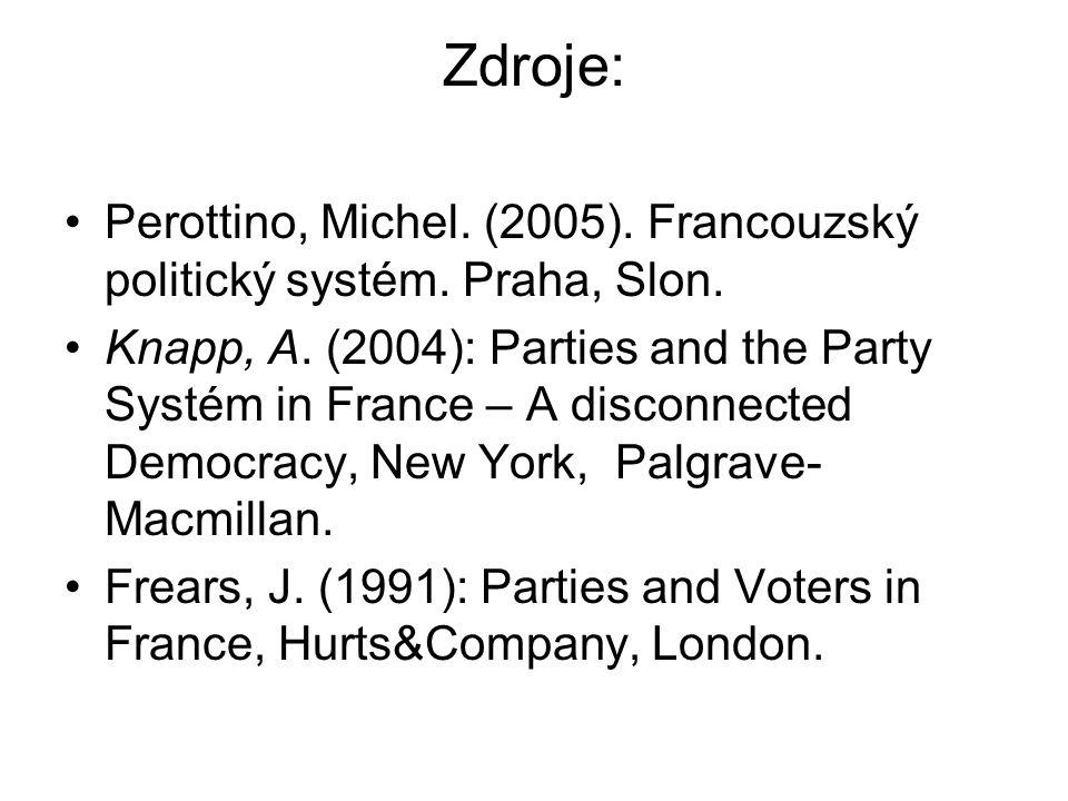 Zdroje: Perottino, Michel. (2005). Francouzský politický systém. Praha, Slon.