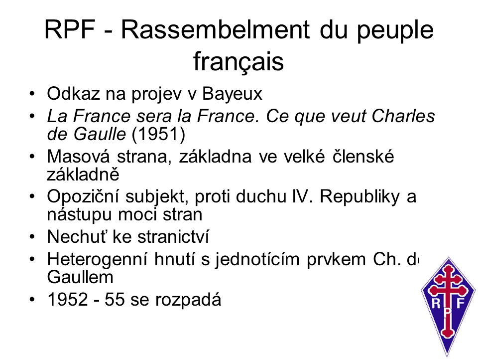 RPF - Rassembelment du peuple français