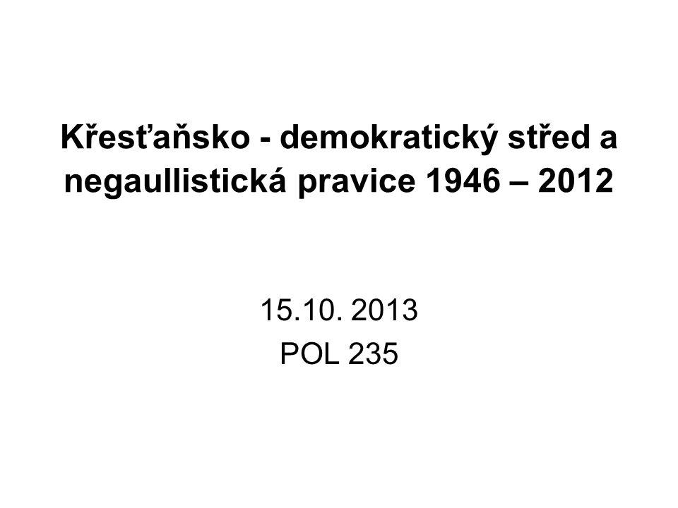 Křesťaňsko - demokratický střed a negaullistická pravice 1946 – 2012