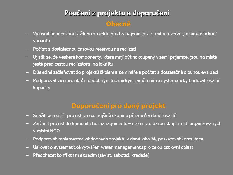 Poučení z projektu a doporučení