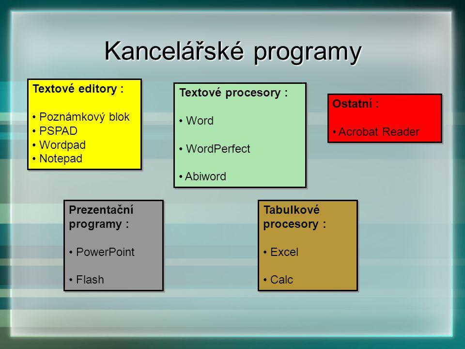 Kancelářské programy Textové editory : Poznámkový blok PSPAD Wordpad