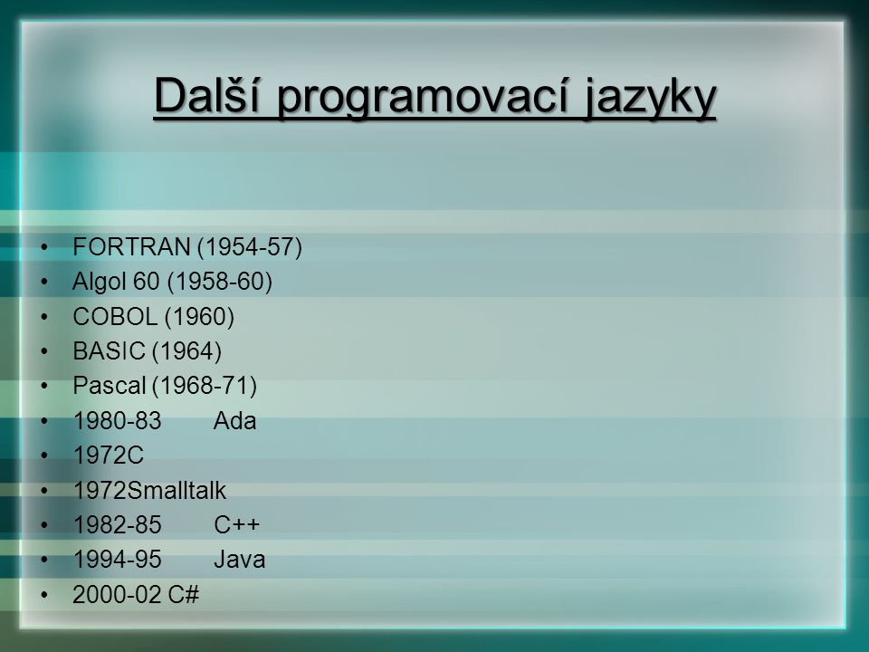 Další programovací jazyky