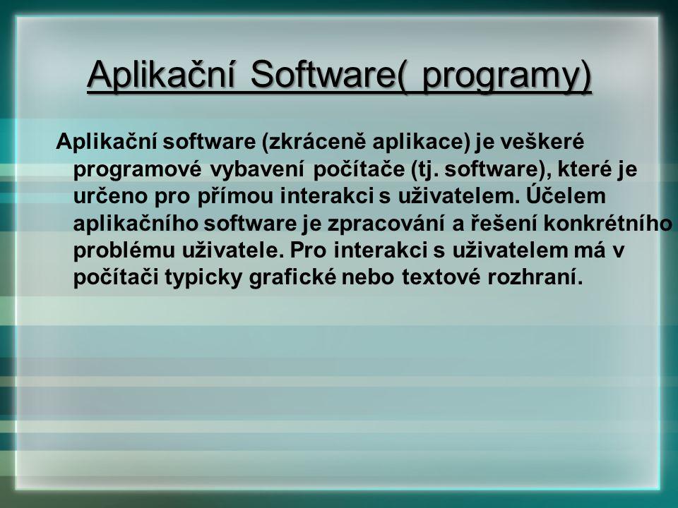 Aplikační Software( programy)