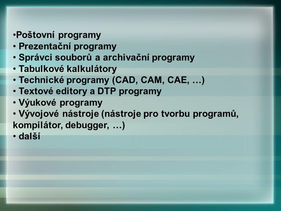 Poštovní programy Prezentační programy. Správci souborů a archivační programy. Tabulkové kalkulátory.