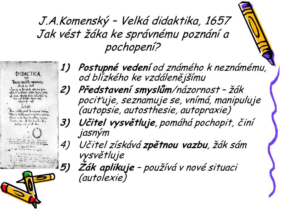 J.A.Komenský – Velká didaktika, 1657 Jak vést žáka ke správnému poznání a pochopení